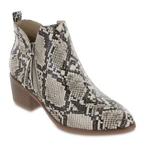 New MIA Snakeskin Printed Ankle Booties Boots